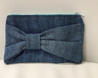 Upcycled Denim & Cotton Zip Pouch Coin Purse