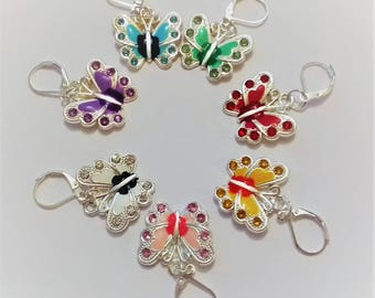 Rainbow butterfly stitch markers