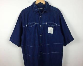 RARE Outkast Denim Button Up Shirt Size L, 90s Denim Button Up
