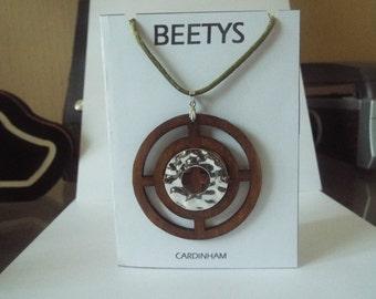 "Poplar Wood Circle Pendant Necklace ""Cardinham"" British Designed and Made by BEETYS"