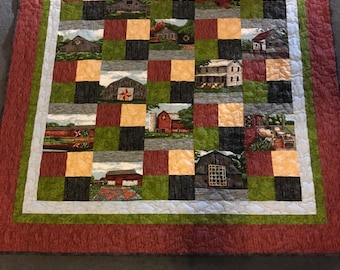 Handmade quilt barns and farm houses