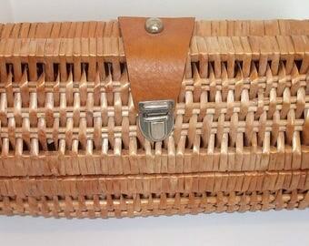 Wicker Basket Clutch Bag