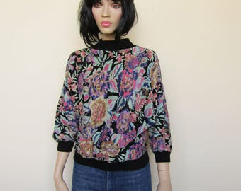 Vintage carpet/velour jumper with a floral pattern size - 10/12/14