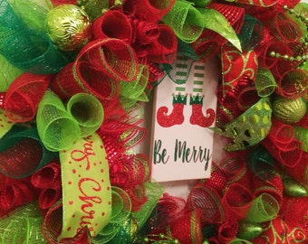 Christmas Wreath, Lime Green, Bright Red, Holiday Wreath, Festive Christmas Wreath