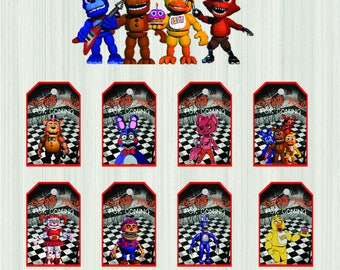 Five Nights at Freddy's thank you tags, Five Nights at Freddy's thank you, FNAF thank you tags, favor tags, fnaf thank you tag, fnaf party