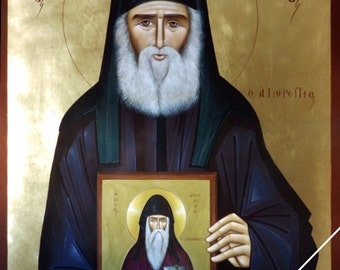 Elder Saint Paisios of Mount Athos holding the icon of Saint Arsenios the Cappadocian, orthodox icon, original, hand painted on request