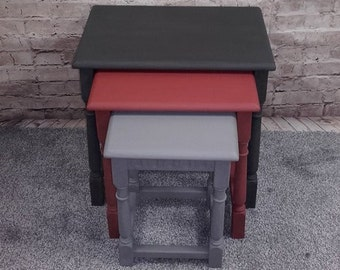 Shabby Chic/Vintage/Retro Masculine coloured nest of three tables
