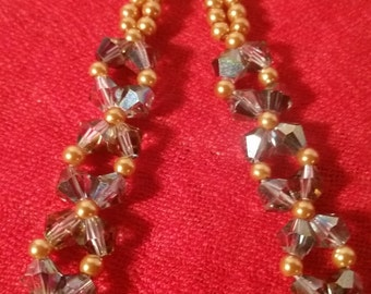 Bicone Crystal Earrings with Gold Pearls