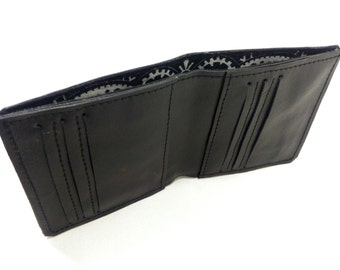 Men's Leather Wallet, Handmade Leather Wallet, Minimal Leather Wallet, Black Leather Wallet, Bifold Wallet