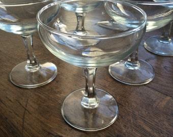 6 vintage champagne glasses