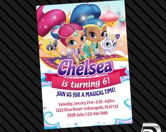 Shimmer and Shine Invitation - Birthday Party - Digital File Only Printable - Shimmer and Shine Invite