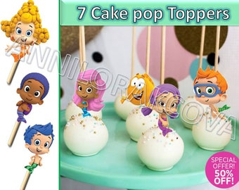 bubble guppies cake pop toppers, bubble guppies cupcake toppers, bubble guppies party, Instant Download, 60% OFF Sale
