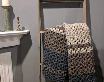 Beautiful  plush crochet wool throw afghan