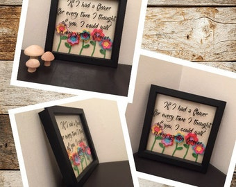 3D crochet art-flower box frame-home decor frame-crochet wall art-vinyl quote frame-gift for mum-Mother's Day gift-3D box frame-