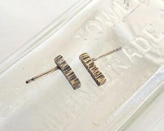 Stud Earrings - Sterling Silver Earrings - Textured Jewellery - Oxidised Earrings - Bridesmaid Earrings - Gift for Her - Wire Jewellery