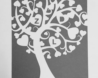 A4 personalised initials papercut family tree