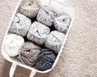 Styled Stock Photo | Yarn In A Basket | Blog stock photo, stock image, stock photography, blog photography