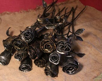 Hand forged Long roses from Siberian Blacksmith. 70 cm