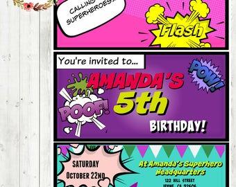 Custom pink SUPERHERO Birthday Invite~Digital Download