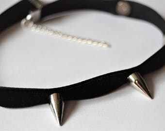 Spiked velvet choker | Spiked choker | Black spiked choker | Spiked choker collar | Gothic choker | Choker with spikes | Spiked necklace