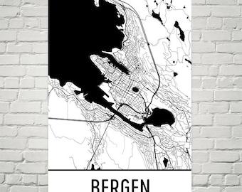 Bergen Map, Bergen Art, Bergen Print, Bergen Norway Poster, Bergen Wall Art, Bergen Gift, Map of Bergen, Bergen Decor, Modern, Art Print