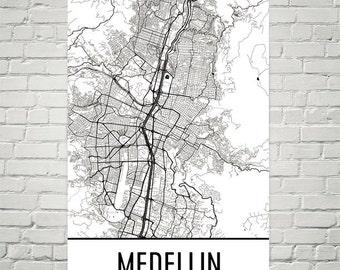 Medellin Map, Medellin Art, Medellin Print, Medellin Colombia Art Poster, Medellin Wall Art, Medellin Poster, Medellin Gift, Medellin Decor