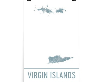 US Virgin Islands Map Art Print, Virgin Islands Art Poster, USVI Wall Art, Map of Virgin Islands, USVI Print, Gift, Birthday Art