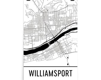 Williamsport Map, Williamsport Art, Williamsport Print, Williamsport PA Poster, Williamsport Wall Art, Williamsport Gift, Decor, Map Art