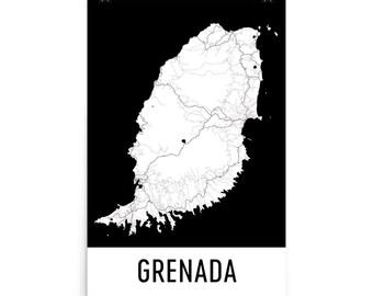 Grenada Map, Grenada Art, Grenada Print, Grenada Island Poster, Grenada Wall Art, Map of Grenada, Grenada Gift, Grenada Decor, Map Art Print