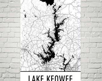 Lake Keowee South Carolina, Lake Keowee SC, South Carolina Map, SC Decor, Lake Map, Keowee Lake Art, Art, Cottage Decor, Keowee SC