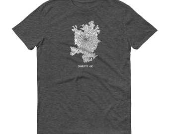 Charlotte Shirt, Charlotte NC, Charlotte TShirt, Charlotte Gift, Charlotte Tee, Charlotte Map, North Carolina Shirt, Charlotte Art, Home