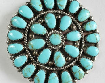 Turquoise Pin Brooch Pendant Navajo Native American Indian Sterling Silver