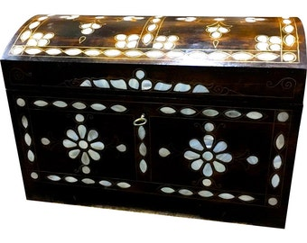 "Handcrafted Mother-of-Pearl Inlaid Natural Wood ""Treasure"" Chest Box - HWC-LG"