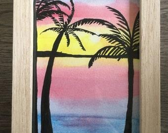 Aquarel 'Tropical', framed