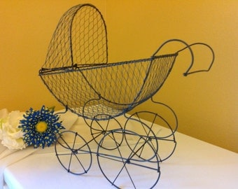 Wire Baby Carriage centerpiece. Antique baby carriage. Baby shower centerpiece. Antique pram.
