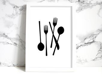 Utensil Wall Art| Fork and Spoon Art| Kitchen Decor| Dining Room Sign| Black and White Printable Art| Dining Room Decor| Minimalist Poster