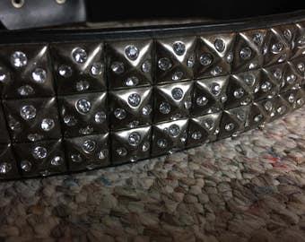 Rhinestone Studded Leather Belt
