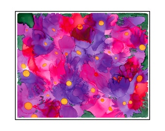 Pink Purple Flower Abstract Wall Decor Alcohol Ink Painting Limited Edition Giclee Matted Print