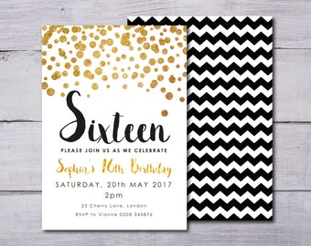 Black and Gold Birthday Invitation, Gold Confetti Birthday Invitation, Gold Girl's Birthday Invitation, Any Age Birthday Invite, Glitter