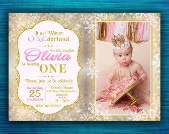 Winter Onederland Invitation-Winter onederland Birthday Party Invitation-Winter Onderland  Party-Gold and Pink Wonderland-Wonderland Party