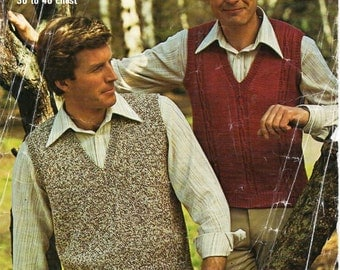 mens knitting pattern PDF mens slipover pullover 4ply or DK v neck Vintage 70s 36-46 inch 4 ply DK 8ply instant download