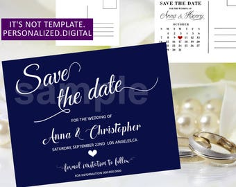 Navy blue Wedding Save the date,Wedding Save the Date printable,Navy Blue Save the Date,Wedding Save the Date,Modern Save the date,00bw