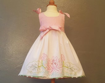Reversible Vintage Embroidered Baby Dress of the Finest Textiles from Flea Markets of Paris & New York.  Size 12 - 18 mo