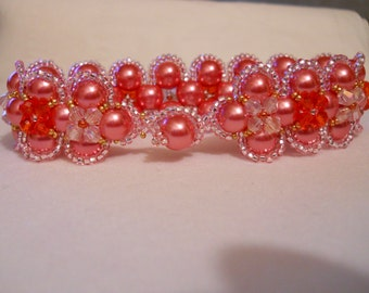 Pink and Cherry Swarovski Pearl and Crystal Bracelet