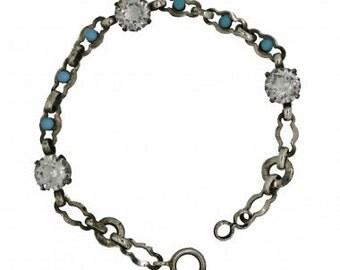 1920s Silver Tone Diamante and Faux Turquoise Bracelet