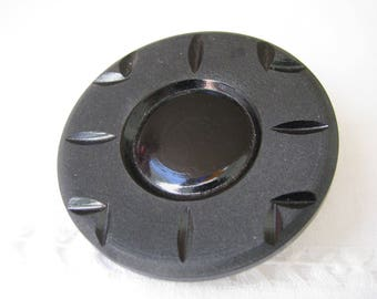 Large Vintage Black Plastic Coat Button