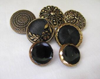 7 Vintage Black Glass Buttons Gold Luster Trim