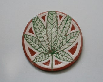 Decorative ceramic plate with green leaf, Ceramic plate,  Сannabis Leaf, Cannabis Gift, , Ceramic plate with leaf of marihuana.