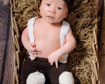Cute Newborn Teddy Bear Hat and Pants, Newborn Photo Prop