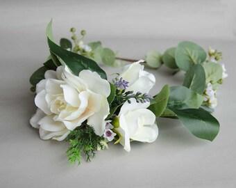 Gardenia and eucalyptus silk flower crown, wedding crown